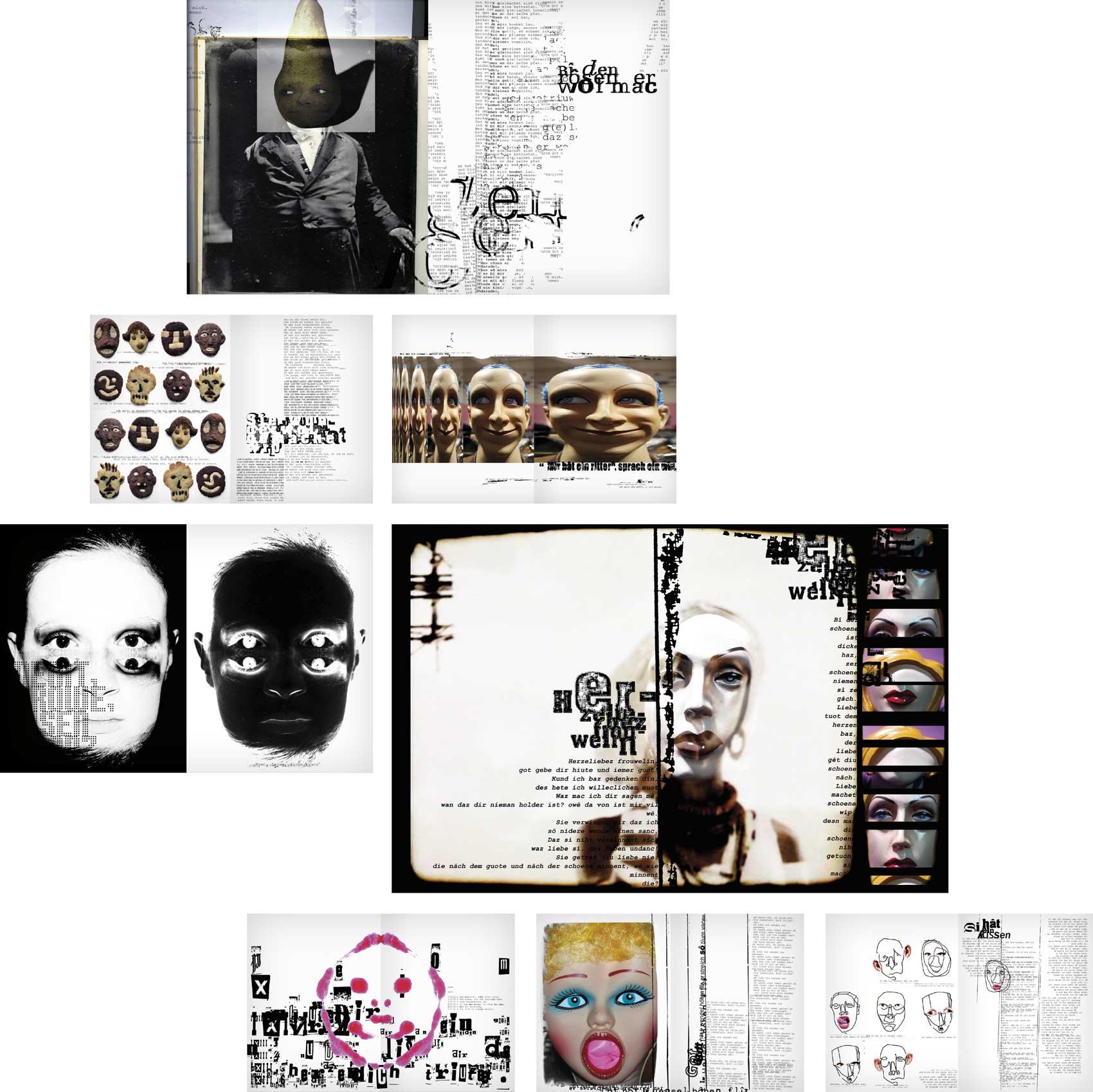 Grafikdesign / Illustrationen Gesichter, Minnesang, von Hannah Jennewein